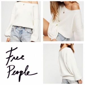 Free People White Ribbed Shadow Sweater